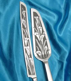 Calla Lily Wedding Cake Server and Knife Set, Floral Themed Wedding