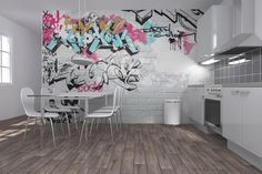 White Brick Graffiti - Wall Mural & Photo Wallpaper - Photowall
