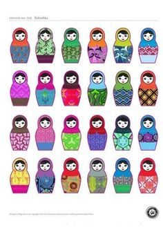 matryoshkas print ideas for selecting fabric, design and face for a DIY sewing nesting doll