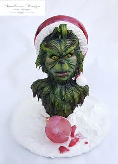 The Grinch by Anna Rosa Maggio Gravity Defying Cake, Gravity Cake, Cake Decorating Techniques, Cake Decorating Tips, Christmas Snacks, Christmas Cakes, Grinch Christmas, Xmas, Grinch Cake