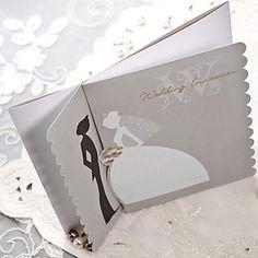 Amazing Cream Double Gate-Fold Bride & Groom Laser-Cut Square Wedding Invitations, 100 pcs/lot