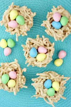(Chow Mein) Easter Nests @candiquik.  Because my niece has peanut allergy I will use butterscotch morsels instead. Also I will color coconut green and toast and put under eggs.