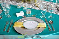 Aqua, Yellow & Grey Tablescape
