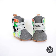 Cactus + Grey Denim Soft Sole Baby and Toddler Hightop Shoes handmade in New Zealand Toddler Sneakers, Toddler Shoes, Baby Booties, Baby Shoes, Hightop Shoes, Boxing Boots, Dress Up Boxes, Shoes Handmade, Adventure Gear