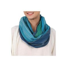 NOVICA Artisan Crafted 100% Cotton Infinity Scarf from Thailand (34 CAD) ❤ liked on Polyvore featuring accessories, scarves, clothing & accessories, infinity, white, striped infinity scarf, infinity scarf, white infinity scarves, infinity scarves and cotton infinity scarves