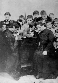 Don Bosco confesando, 1861.