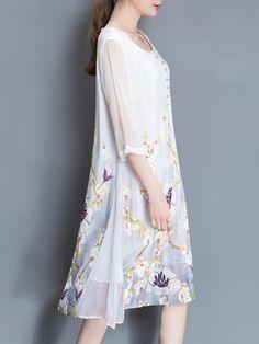Elegant Women Printed O-neck 3/4 Sleeve Dresses - Banggood Mobile