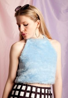 Blue Fluffy Halter Neck Crop Top