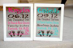 Cricut Discover Baby Stats - Subway Art in a Floating Frame - Boy or Girl Version - x Vinyl Crafts, Vinyl Projects, Circuit Projects, Subway Art, Frame Crafts, Cricut Creations, Silhouette Projects, Silhouette Cameo, Cricut Vinyl