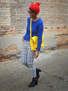 Loving this combination of black and white printed pants with primary colors. #stylegallery