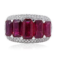 Five Stone Emerald Cut Ruby Ring   William Noble