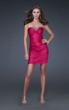 La Femme 16934 Fuchsia Strapless Sweetheart Sexy Short Sparkly Dress For Cheap - Click Image to Close