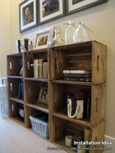 Wooden Crates for Building Shelves - Stackable Wooden Crate for Building Display. - Wooden Crates for Building Shelves – Stackable Wooden Crate for Building Display Shelves – Wood - Wood Crate Shelves, Wooden Storage Crates, Crate Bookshelf, Crate Storage, Wood Crates, Bookshelves, Rustic Shelving, Record Storage, Wood Crate Diy