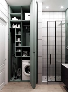 Laundry Room Layouts, Small Laundry Rooms, Laundry In Bathroom, Laundry Room Design, Bathroom Design Small, Bathroom Interior Design, Laundry Room Inspiration, Small Apartments, House