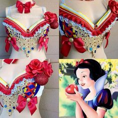 Snow White Bra with matching red bow Headband