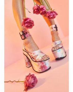 Sugar Thrillz Holy Revelation Platform Heels | Dolls Kill Glitter Heels, Pink Heels, Lace Up Heels, Strappy Heels, Floral Heels, Shoes Heels, Holographic Heels, Pink Doll, Stiletto Boots