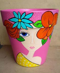 Flower Pot Art, Flower Pot Design, Flower Pot Crafts, Clay Pot Crafts, Pottery Painting Designs, Rock Painting Designs, Pottery Art, Painted Plant Pots, Painted Flower Pots