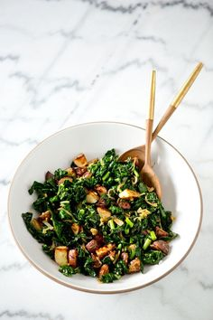 Wilted Kale and Roasted Potato Salad via a house in the hills