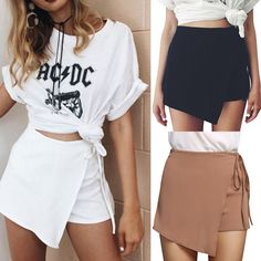 New Fashion Women Irregular Pants High Waist Mini Skirt Shorts Culottes Wrap Hot Festival Looks, Short Skirts, Short Dresses, Mini Skirts, New Fashion, Fashion Women, Music Midtown, Skort Outfit, Music Festival Outfits