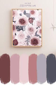 nursery decor, nursery art, nursery colors, color palette, floral art, floral decor