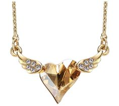 Austrian Crystal & Rhinestone 14K Gold Plated Winged Heart Necklace