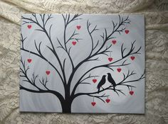 Birds in Heart Tree Silhouette 16 x 20 Hand Painted Art Canvas Wall Decor
