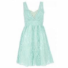 Blue and cream lace bustier pearl dress