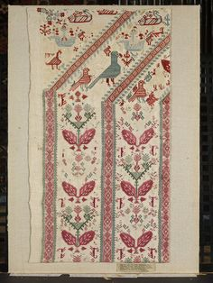 Textile fragment of a bed door curtain of embroidered linen in silks, possibly made in Kos or Patmos, Museum Number V & A Museum, American Quilt, Folk Embroidery, Greek Art, Textile Fabrics, Victoria And Albert Museum, Hama Beads, Cross Stitching, Folk Art