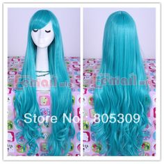 Free Shipping 2013 Fashion Arrival Anime Girl 90cm Long Dark Turquoise Curly Wave Cosplay Hair Wigs Free Shipping CW182-B $23.49