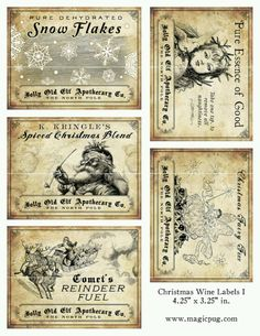 Antique Christmas Potion Wine Labels x digital collage sheet decorations for your holiday dinner parties printable cheer reindeer Christmas Labels, Noel Christmas, Christmas Printables, All Things Christmas, Winter Christmas, Christmas Collage, Christmas Pictures, Holiday Crafts, Holiday Fun