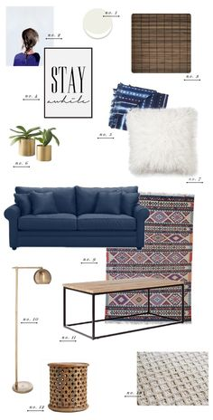 Living Room Collage Blue Couch Furniture Velvet Sofa