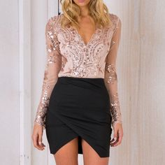 2017 Spring Sexy Rompers Womens Jumpsuit Long Sleeve V Neck Bodysuits Ladies Sequined Mesh Splice Bodycon Overalls Plus Size