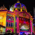 Our Flinders Street Station looking all Prettied up by darkydoors