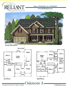 Plan 2881 the wingerden two story house plan greater for Reliant homes floor plans