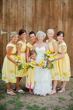 bridesmaids in retro sundresses.