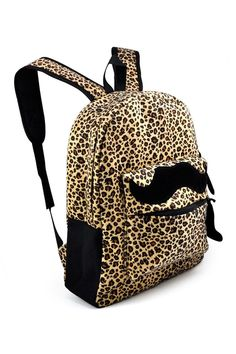 VSEN Hot Reto Womens Canvas Mustache Backpack Shoulder Bag Mens Leopard  Rucksack Satchel a3622569ccc3c