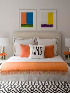 44 Beautiful Bedroom Decorating Ideas @Lori Bearden DeArrigunaga   for art work, color, rug and monogramed pillows