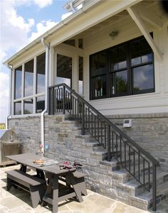 Stairs to Screened Porch | Fayette County Farm House | Residential | Portfolio