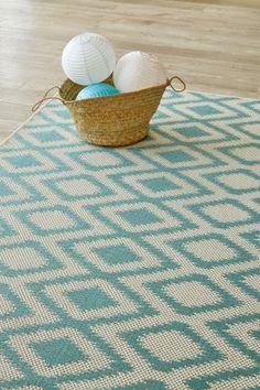 Aqua Diamond X m): Water-resistant, durable poly-propylene woven flatweave X m). Aqua, Carpet, Rugs, Diamond, Water, House, Design, Home Decor, Farmhouse Rugs