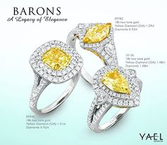 Which one of these natural fancy yellow diamond rings would you like? #yellowdiamond #diamondring