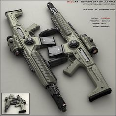 "Concept of futuristic SMG for fictional scenario. It is energy based. No ammo but battery sockets in the handle. Design is minimalist. Front mask contains ""Barrel"", camera and light at the bottom. ..."