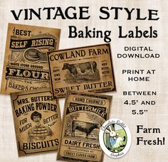 Vintage Kitchen Baking Labels Prim Primitive by chocolaterabbit Primitive Labels, Primitive Kitchen, Primitive Crafts, Country Primitive, Rooster Kitchen, Primitive Patterns, Country Kitchen, Printable Tags, Free Printables