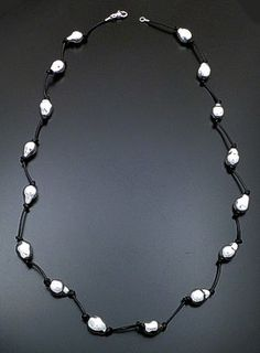"""Zina - 37"""" Knotted Baroque Pearl Sterling Silver & Leather Necklace #39590 $675.00 at Castle Gap Jewelry #silver #jewelry"""
