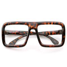 15a21974605 Oversize Square Block Thick Frame Clear Lens Glasses 8548 Tortoise Large  Frame Glasses