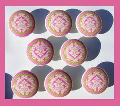 8  Pink Taffy  white pink  lime Damask Dresser Drawer Knobs. $22.00, via Etsy.