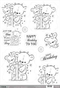 Buzzcraft Colour & Craft cute die cut toppers - Bear Present