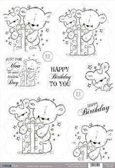 Buzzcraft Colour & Craft cute die cut toppers - Bear Present