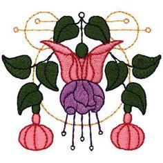Fuchsia Art Nouveau embroidery design