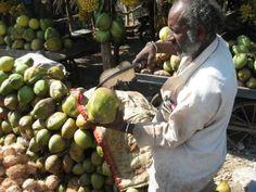 Noix de coco à volonté Dans les zones côtières, on peut facilement se faire ouvrir une noix de coco. On commence par boire son eau à la paille, puis on vous ouvre la noix complètement pour récupérer la pulpe qui est à l'intérieur. Délicieux !