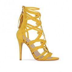 Kailee Stiletto Heels in Yellow Faux Suede